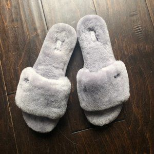 Grey UGG Open-Toe Slippers
